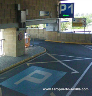 Entrance to parking P1 of Seville airport