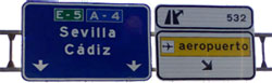 Indicative panels Seville airport motorway