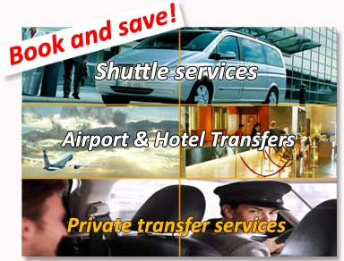 Shared transfers to the hotel (shuttle bus) and private transfers from / to Seville airport